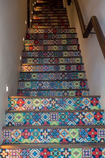 Art Colors Design Home Interior Indoors  Indoors  Multi Colored Ornate Pattern Refurbished Repetition Stairs Tiled Floor Tiles Traditional