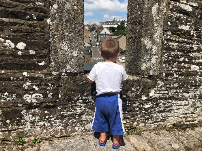 Rear view of boy looking at cityscape through window