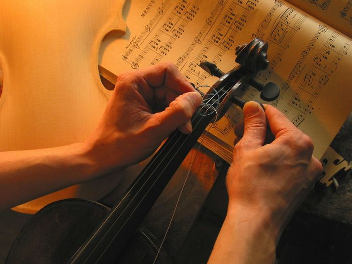 Arts Culture And Entertainment Cello Classical Music Close-up Day Electric Guitar Fretboard Guitar Human Body Part Human Hand Indoors  Instrument Maker Men Music Musical Instrument Musical Instrument String Musical Note Musician One Person Playing Real People Skill  String Instrument Violin Violinist