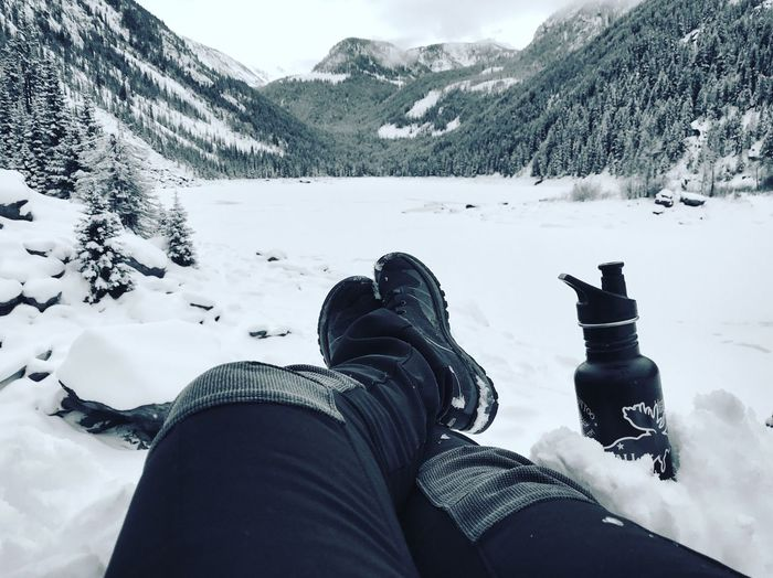 Low Section Human Leg Human Body Part Winter Snow One Person Personal Perspective Cold Temperature Montana Gallatin National Forest Lava Lake Leisure Activity Shoe Mountain Men Domestic Animals Day Pets Outdoors Lifestyles Nature Adventure Be. Ready.