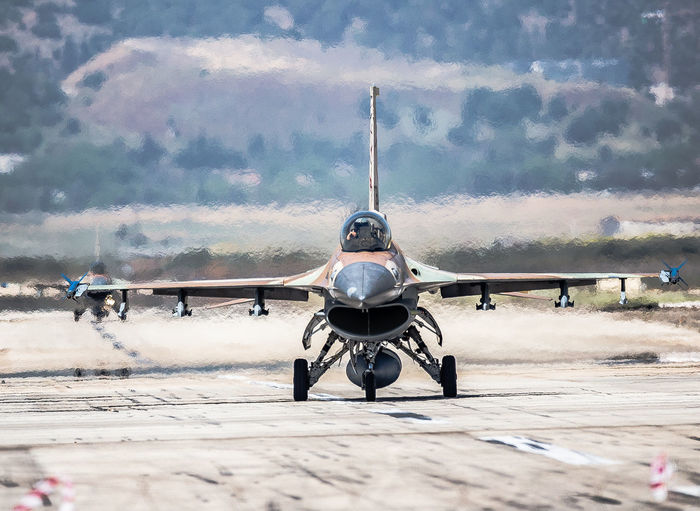 Air Vehicle Aviation Blue Sky Day F-16 Fighter Plane Fighting Falcon Flight General Dynamics IAF Israeli Air Force Military Runway Taxiing