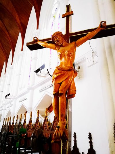 Jesus's cross Statue Sculpture Travel Destinations Human Representation Indoors  Low Angle View No People Day Jesus Christ Jesus Church Quiet Contrast HDR Cross
