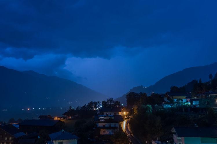 Abend Berge Himmel Piesendorf Pinzgau Salzburger Land Unwetter Wolken Abendhimmel Gewitter Langzeitbelichtung Österreich