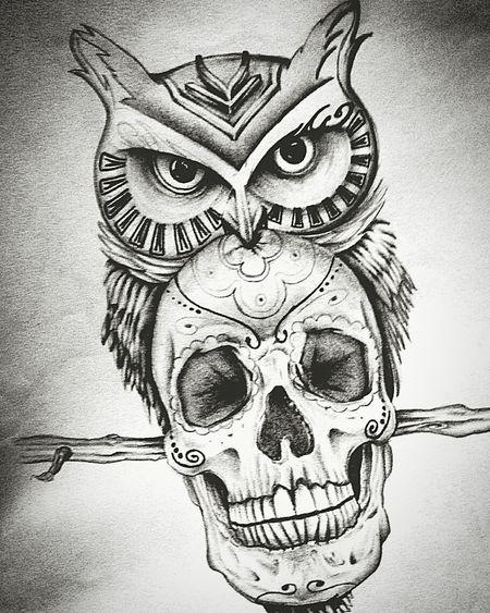 Tattoo Tattoo ❤ Art Art, Drawing, Creativity ArtWork Artist Art Gallery Gufo Teschio  Arttattoo First Eyeem Photo