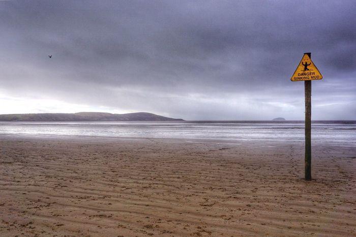 Danger Sign Sign Sinking Landscape Seascape Seaside Beach EyeEm Nature Lover