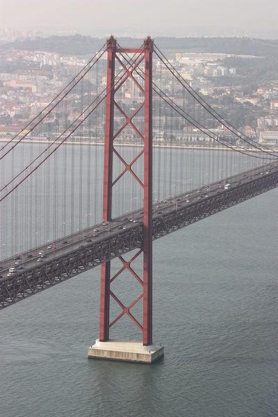 Architecture Bridge Bridge - Man Made Structure Built Structure Cable-stayed Bridge Connection Engineering Famous Place Footbridge International Landmark Lisboa Lisbon Long Perspective Railing River Structure SUPPORT Suspension Bridge