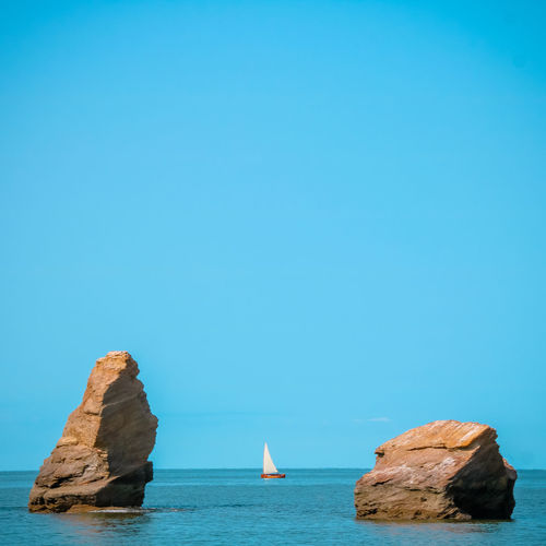Mine D'or Water Sea Sky Horizon Over Water Horizon Scenics - Nature Beauty In Nature Clear Sky Nature Blue Waterfront Copy Space Rock Rock - Object Tranquility Tranquil Scene Solid No People Day Stack Rock Sailboat Bretagne Atlantic Ocean