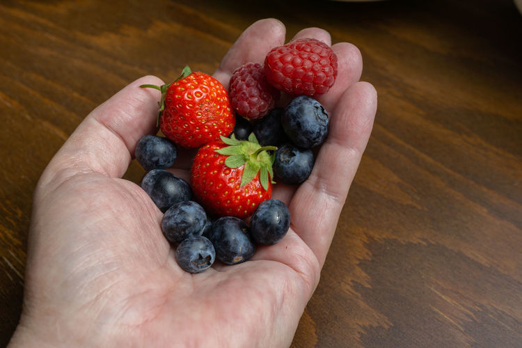 Hand with fruits, strawberries, raspberries and blueberries Food Fruits Berries Hand Handful Strawberries Blueberries Raspberries Holding Red Fresh Woman Healthy Summer Vegetarian Ripe Diet Berry Mix Fruity Green Dieting Closeup Organic Natural Health Sweet Seasonal Gourmet Vitamin Blue Colorful Juice Harvest Human Hand Healthy Eating Berry Fruit Food And Drink Fruit Wellbeing Freshness Human Body Part One Person Blueberry High Angle View Indoors  Unrecognizable Person Strawberry Body Part Raspberry