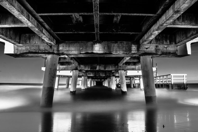Under the Gdansk's pier Pier Sea Long Exposure Black And White Gdansk Molo Underneath Symmetry Below Architecture Built Structure Horizon Over Water