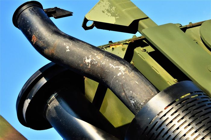 Military Vehicle United States Military Clear Sky Close-up Day Exhaust Stacks Focus On Foreground Iron - Metal Land Vehicle Low Angle View Machinery Metal Military Military Truck Military Vehicle Military Vehicles Mode Of Transportation No People Rusty Sky Stacks  Sunny Transportation