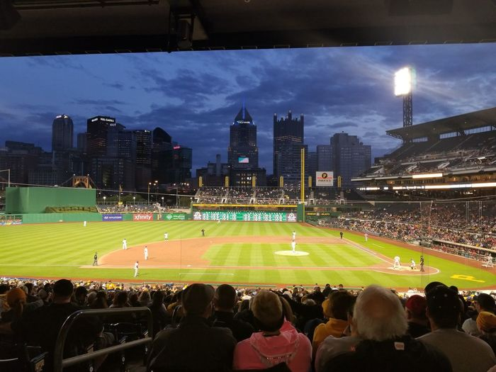 Baseball Field Baseball - Sport Sports Team Sports Venue Pittsburgh PNC Park Pennsylvania Pittsburgh Pirates Cloud - Sky Outdoors Crowd Large Group Of People Match - Sport Fan - Enthusiast Skyscraper Stadium Travel Destinations Spectator People Baseball Game Baseball Stadium Baseball Players Sports Event  Night Cityscape Colour Your Horizn
