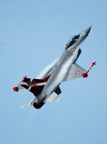 Danish F16 Airplane Airshow Airshowphotography Blue Clear Sky Denmark F16 F16 Aircraft F16fightingfalcon Fighter Plane Flying Flying High Military Airplane
