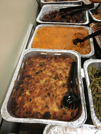 Bread And Butter Pudding Burnt Ends  Crispy Foil Trays Food Green Beans No People Southern Food Sweet Potatoes