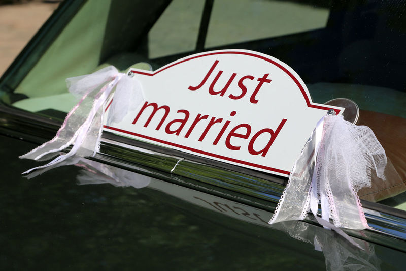 """Just married"" sign on the back of a sedan car Close-up Communication Day No People Outdoors Text Wedding Day Wedding Dress Wedding Photography Wedding Marriage  Marriage  Just Married! Just Married Sign"