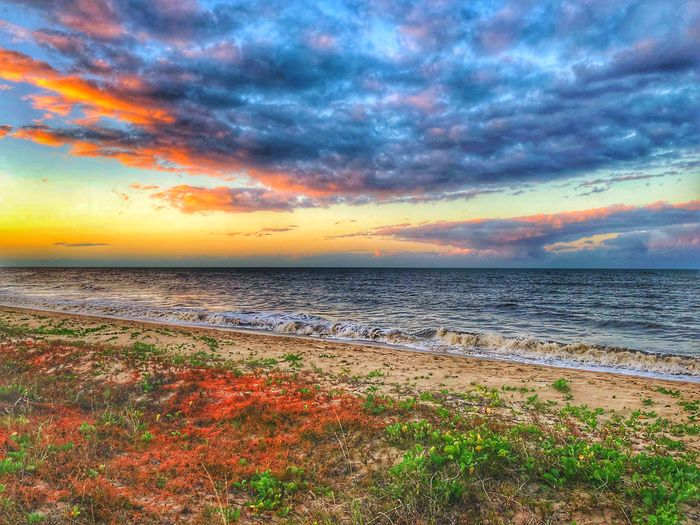 Sunset Sea Sky Water Beach Beauty In Nature Scenics - Nature Cloud - Sky Sunset Land Tranquil Scene Tranquility Horizon Over Water Horizon No People Orange Color Dramatic Sky Idyllic Nature Outdoors