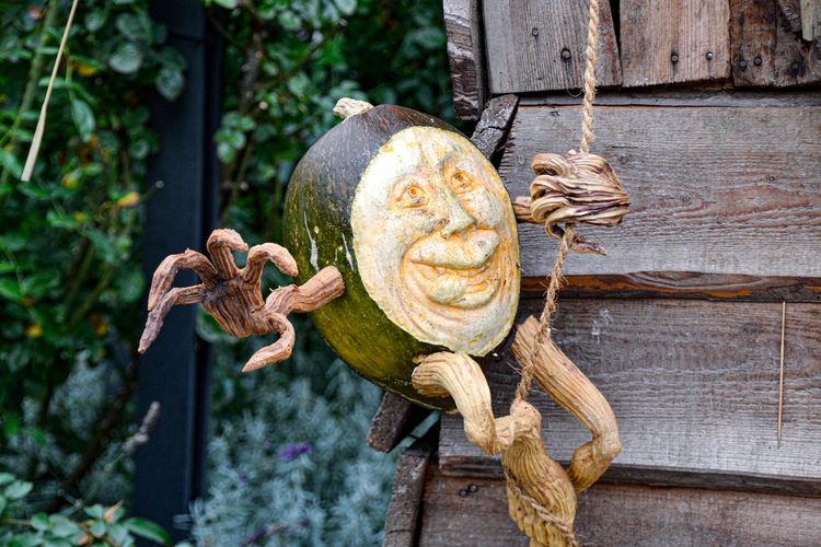 Close-up of door knocker pumpkin