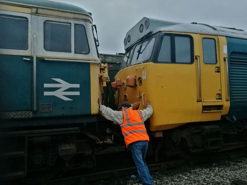 One Man Only Only Men Transportation One Person Adults Only Adult Outdoors Men Sky Day Occupation People Repairing Class 33 Class 50 East Lancashire Railway Locomotive