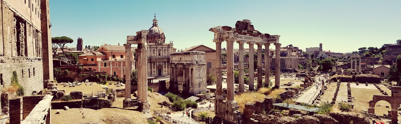 History Architecture Travel Destinations Outdoors Ancient Built Structure Clear Sky Architectural Column Archaeology Old Ruin Ancient Civilization Ancient Travel Tourism Monument Rome Day City Architecture EyeEm Selects The Week On EyeEm Moving Around Rome