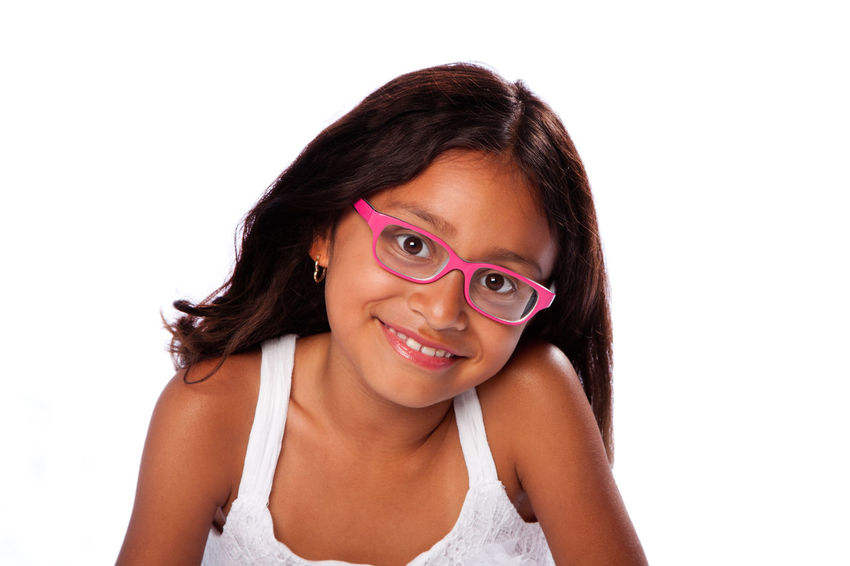 Cute happy smiling girl wearing pink glasses Fashion Glasses Happiness Happy Pink Spectacles Adorable Beauty Cheerful Child Childhood Cute Farsightedness Female Frame Girl Hispanic Kid Latina Optic Optometry Portrait Smiling