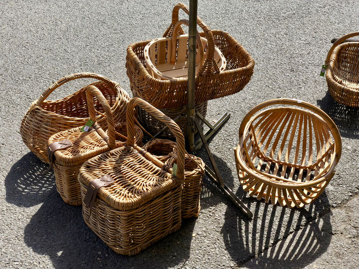 Art And Craft Basket Choice Close-up Container Craft Creativity Day For Sale High Angle View Large Group Of Objects Metal Nature No People Outdoors Shadow Still Life Sunlight Variation Wicker