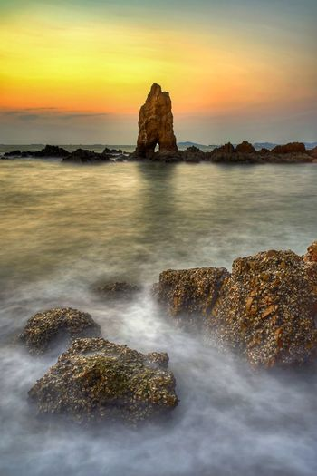 seascape Water Sea Sunset Dawn Beach Long Exposure Rock - Object Sky Horizon Over Water Landscape