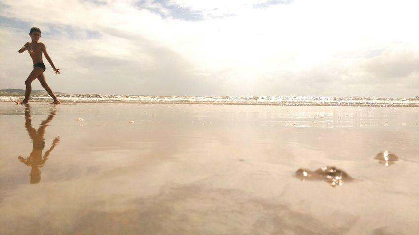 Boy Reflection Beach Sunny Sea Waves Sky Wather Sky And Clouds