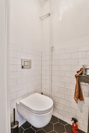 White wall in bathroom at home