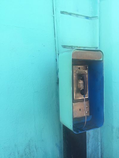 Payphone Teal Blue Still Life Colors Los Angeles, California Wall Blue Wall Building California Losangeles