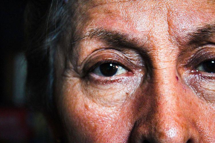 Close-up portrait of senior woman