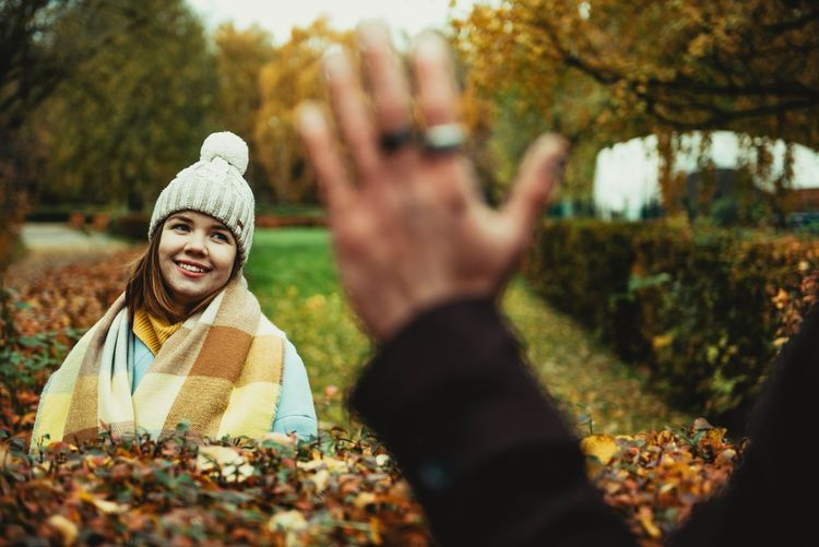 Autumn smiling girl