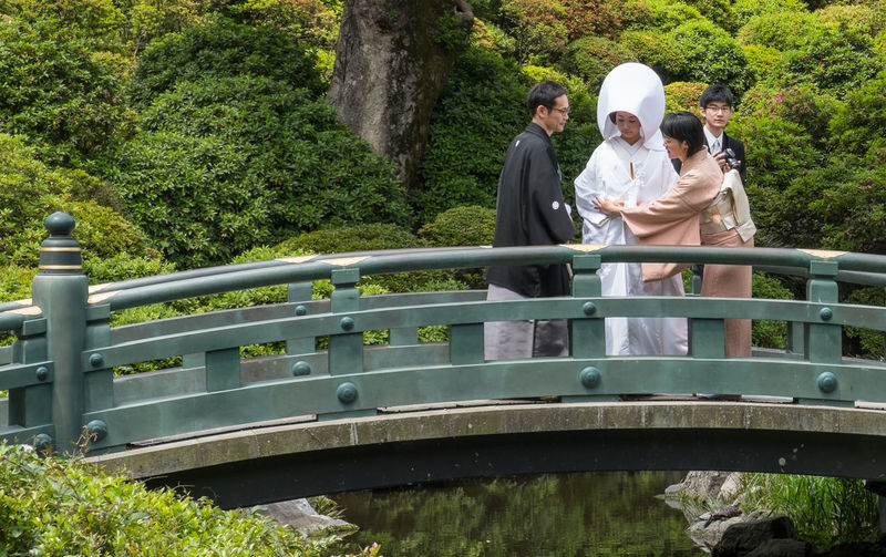Japanese couple wedding in traditional attire at Nezu Shrine or Nezu Jinja. Architecture Attire Bride Building Ceremony Culture Custom Groom Japan Japanese Wedding Jinja Nezu Nezu Shrine Old Religion Sacred Shinto Shrine Structure Temple Tokyo Traditional Tranquility Wedding Wooden
