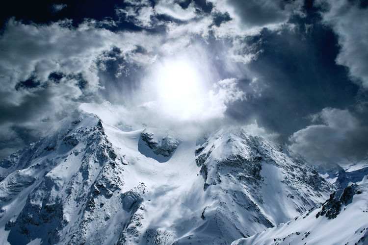 Scenics - Nature Winter Cloud - Sky Cold Temperature Mountain Sky Beauty In Nature Snow Tranquility Tranquil Scene Mountain Range White Color Environment Day Nature Non-urban Scene Snowcapped Mountain Landscape No People Mountain Peak