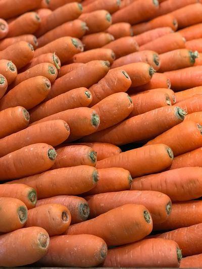 Full frame shot of carrots for sale in market