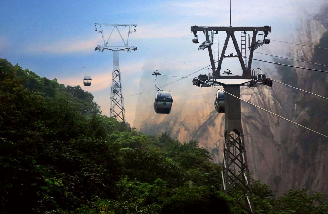 transportation, tree, cable, nature, day, sky, outdoors, mode of transport, low angle view, rail transportation, overhead cable car, mountain, public transportation, no people, ski lift, beauty in nature, electricity pylon, technology