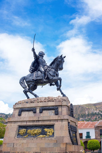 Statue of Mariscal Sucre in the Plaza de Armas of Ayacucho, Peru Altitude America Andes Architecture Armas Ayacucho  Cathedral Church Culture Historic History Inca Know Mariscal Monument Peru Peruvian Plaza Puna South South America Sucre Tourism Town View