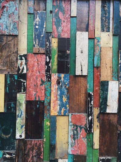 Full frame shot of colorful wood