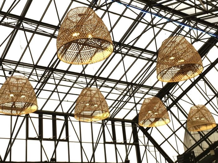 Lights everywhere ✨ EyeEmNewHere Paris Lights Ceiling Indoors  Pattern Grid No People Low Angle View Architecture Close-up