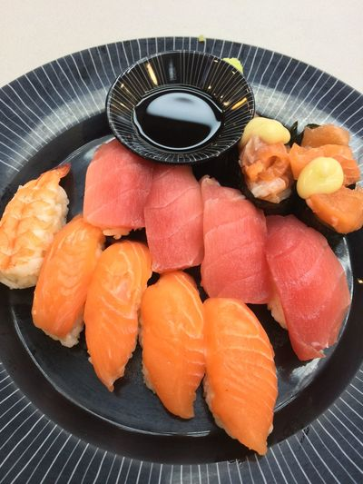Food And Drink Food Seafood Healthy Eating Indoors  Japanese Food Freshness Plate Salmon - Seafood Wellbeing Sushi Asian Food High Angle View Fish Orange Color No People Rice Serving Size Ready-to-eat Sashimi  Crockery