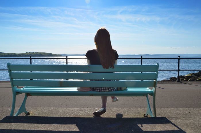 Bench Benches_Of_The_World_Unite Benchlovers Casual Clothing Horizon Over Water Idyllic Leisure Activity Peace And Quiet Relaxation Relaxing Relaxing Moments Scenics Sea Sitting Sky Tranquil Scene Tranquility Vacations Watching Water Woman
