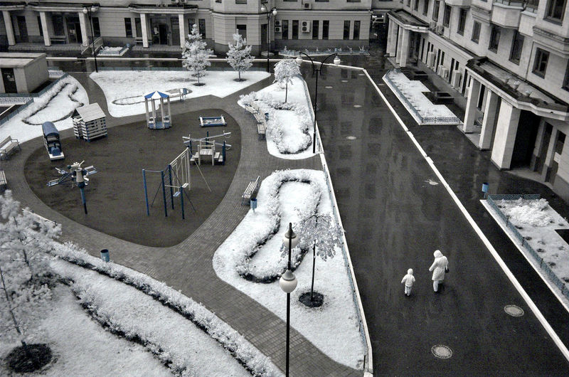 Russia, Moscow, winter, yard, first snow Architecture Building Exterior Built Structure Car City City Life City Street Day High Angle View In A Row Land Vehicle Mode Of Transport Outdoors Parked Pedestrian Road Russia, Moscow, Winter, Yard, First Snow Street Town Transportation Zebra Crossing