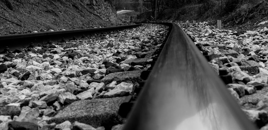 Day No People Outdoors Rail Transportation Railroad Tie Railroad Track Selective Focus Surface Level The Way Forward Transportation