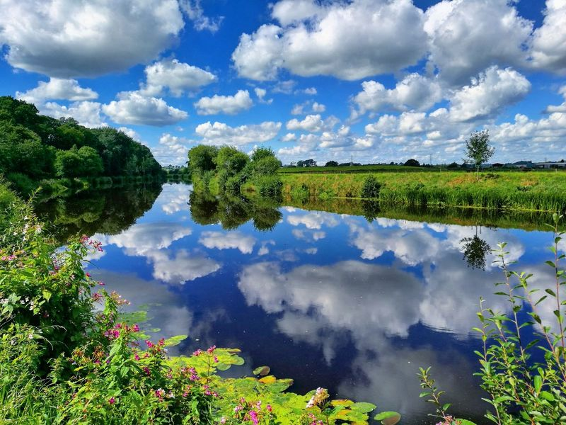 Reflection Water Sky Cloud - Sky Blue Landscape Lake Reflection Lake Nature Beauty In Nature Outdoors Nature Shooters Nature_perfection Nature_collection Nature Photography Naturephotography Beauty In Nature Silhoutte Reflection In The Water Reflection_collection Reflections ☀
