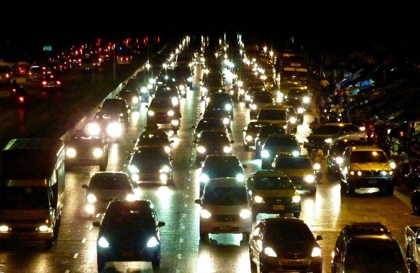 Bangkok Cars City City Street Curfew Headlights Jam Mode Of Transport Night Parking Thailand Traffic Traffic Jam First Eyeem Photo