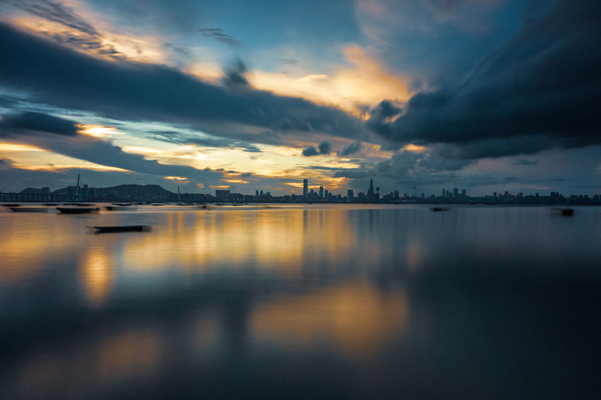 Water Sunset Sea Multi Colored Reflection Dramatic Sky Sky Horizon Over Water Cloud - Sky