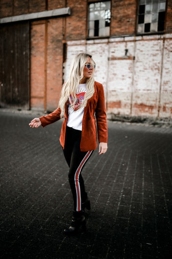 Blond Hair Portrait Full Length Warm Clothing Red Clown Fashion Women Young Women Front View