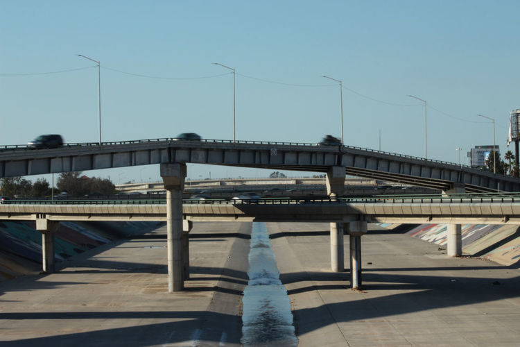Bridge against clear sky in city