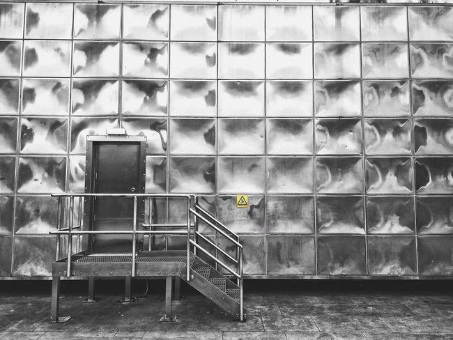 a t t e n t i o n Metal Steel Futuristic Design White Escape Blackandwhite Squares Stair London Cloud - Sky Contemporary Lines City Architecture Building Exterior Built Structure
