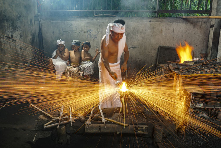 Man working on fire