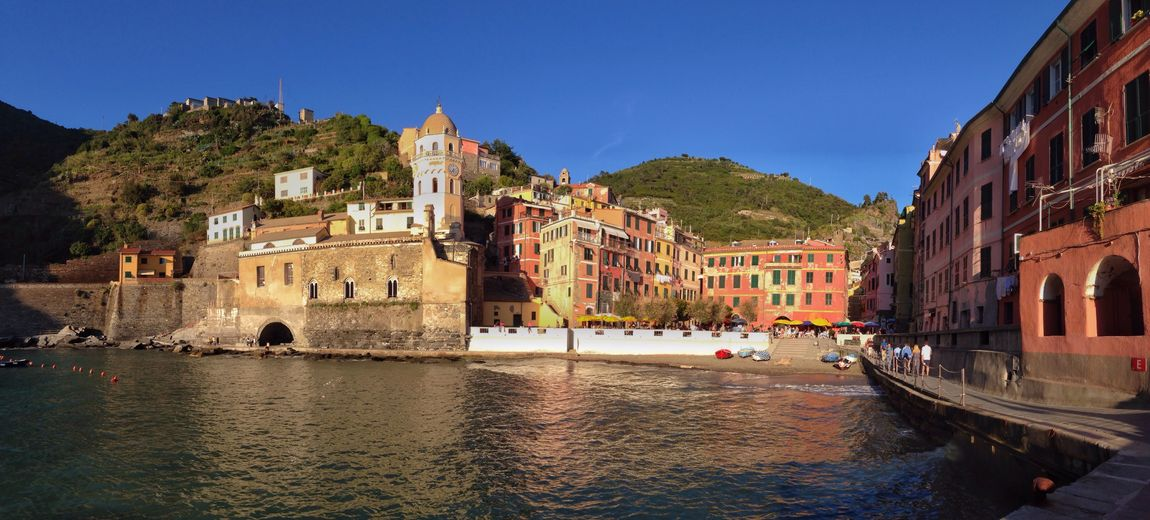 Vernazza, Italy Architecture Building Exterior Built Structure Water Clear Sky Outdoors Sky Day Blue Nautical Vessel Mountain No People City Nature Vernazza Italy
