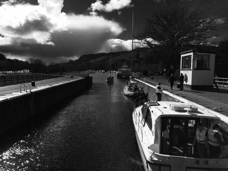 Caledonian Canal Inverness Scotland Waterway Locks Blackandwhite Contre-jour IPhoneography
